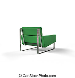 Green modern armchair isolated
