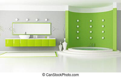 green modern bathroom with circular luxury bathtub -...