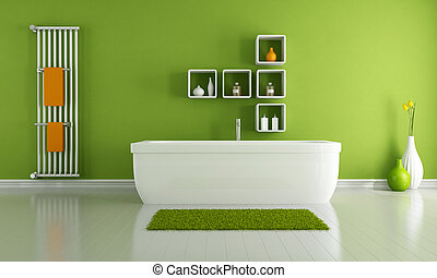 green modern bathroom with white bathroom and vertical...