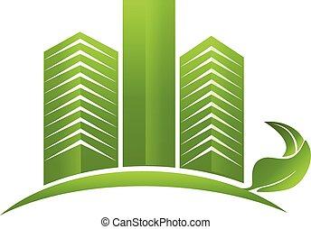 Green modern buildings logo
