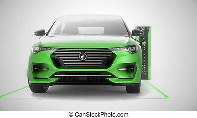 Green modern electric self driving car charging at charging station. 4K