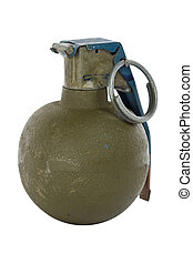 green modern hand grenade at an angle isolated on white...