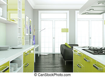 Green modern kitchen interior design illustration