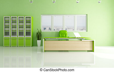green modern office - green city office space - rendering -...