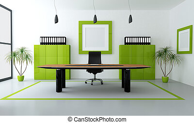 green modern office - minimalist green and black office...
