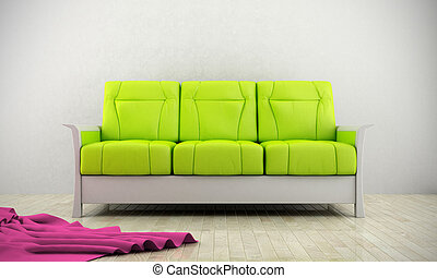 Green modern sofa luminous room with parquet floor