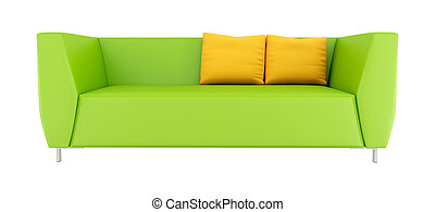 green modern sofa isolated on white - rendering