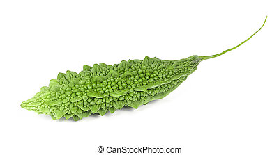 Green Momordica charantia isolated on white background.