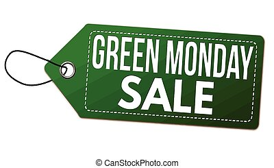 Green monday sale label or price tag on white background, ...