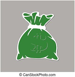 Green money bag icon