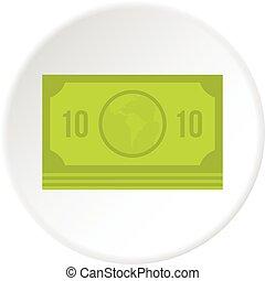 Green money banknote icon circle