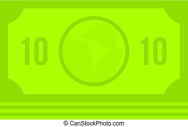 Green money banknote icon isolated