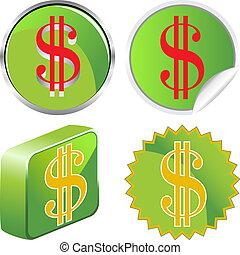 Green money icons