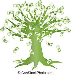 Green Money Tree Illustration - Money Growing on Green Tree...