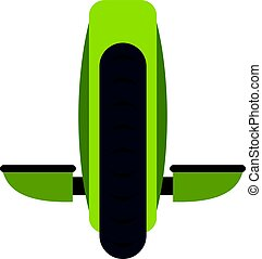 Green monowheel balance vehicle icon isolated - Green...