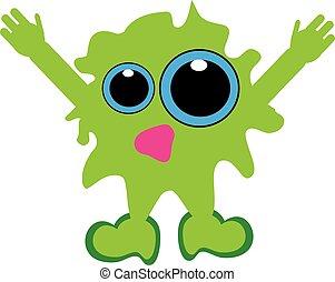 Green monster bacillus on white background
