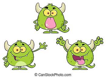 Green Monster Cartoon Emoji Character. Collection