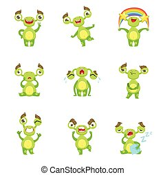 Green Monster Character Different Emotions And Situations Set