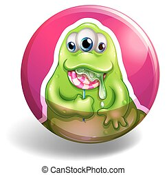 Green monster eating lolipop illustration