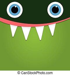 Green monster face background