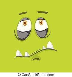 Green monster facial expression illustration