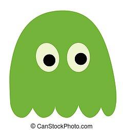 green monster flat illustration on white