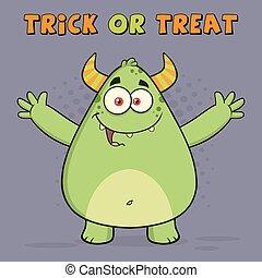 Green Monster.  Greeting Card