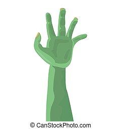 green monster hand on white background