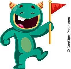 Green monster holding a flag vector illustration