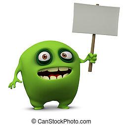green monster holding banner