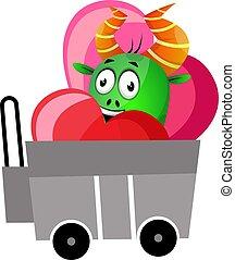 Green monster in love, illustration, vector on white background.