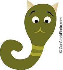 Green monster like a snake, vector or color illustration.