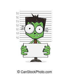 Green monster suspect and police lineup on white background, illustration.