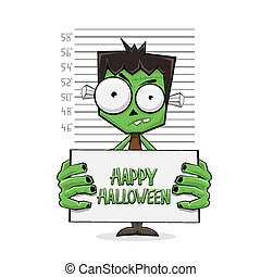 Green monster suspect and text Happy Halloween - Suspect...
