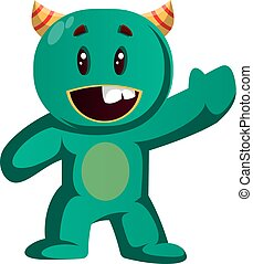 Green monster wavingvector illustration