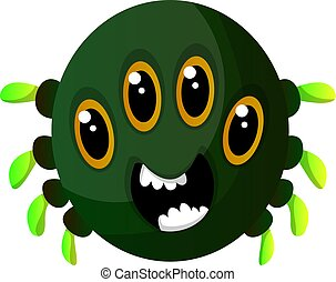 Green monster with four eyes illustration vector on white background