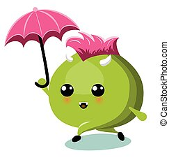 Green Monster With Umbrella Under Rain