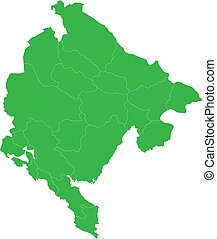 Green Montenegro map - Administrative division of Montenegro