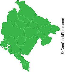Green Montenegro map - Administrative division of Montenegro