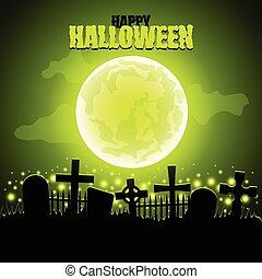 Green moon and graveyard Halloween
