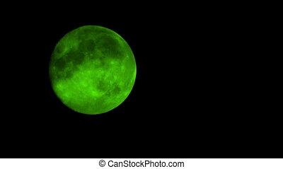 Green Moon On Cloudy Night Closeup - Closeup of green moon...