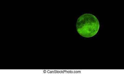 Green Moon On Cloudy Night - Green moon in the night sky