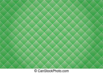 Green mosaic background.
