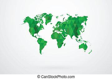 Green Mosaic Tiles World Map