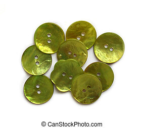 Green mother of pearl buttons on white background