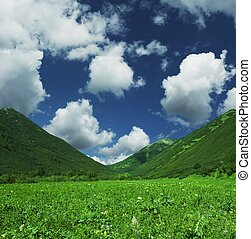 Green mountain and blue