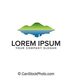 green mountain and town logo. Environmental and Green...