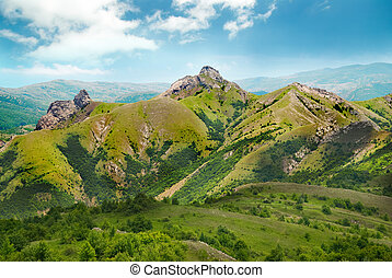 Green mountain covered with forest on the blue sky background