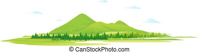 Green mountain hills with fores isolated - Mountain valley...