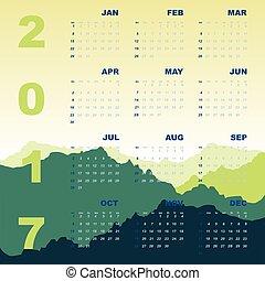 Green mountain view of 2017 calendar, stock vector